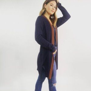 Eileen Fisher Navy Long Knit Open Front Cardigan